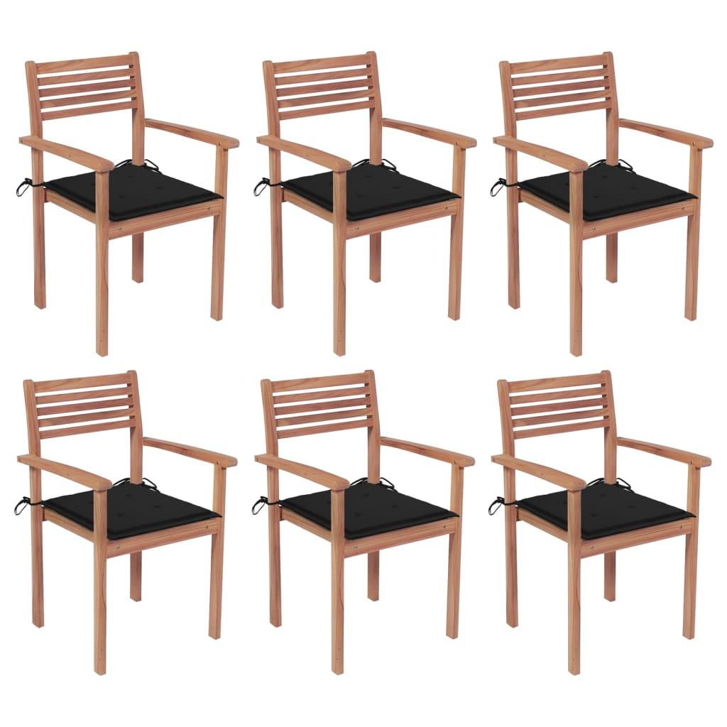 Stapelbare Gartenstühle mit Kissen 6 Stk. Massivholz Teak