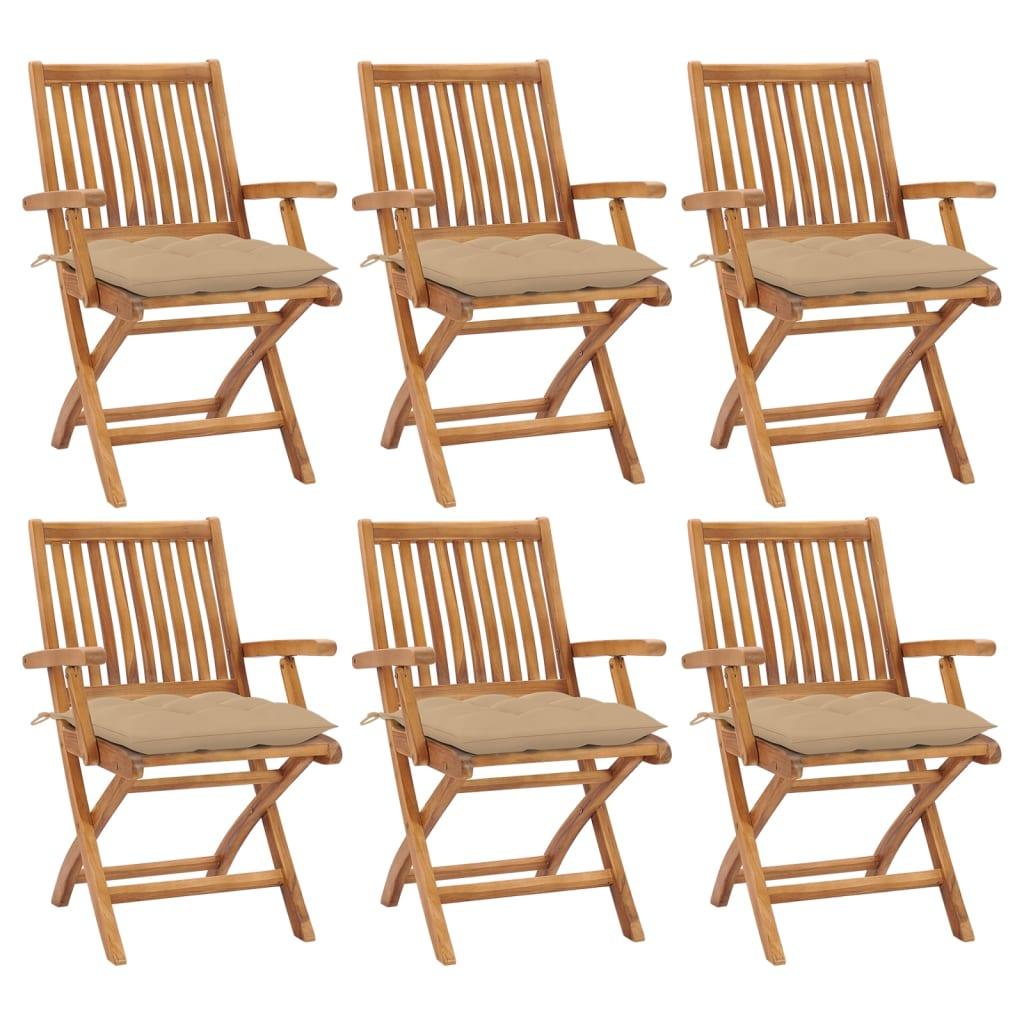 Klappbare Gartenstühle mit Kissen 6 Stk. Massivholz Teak