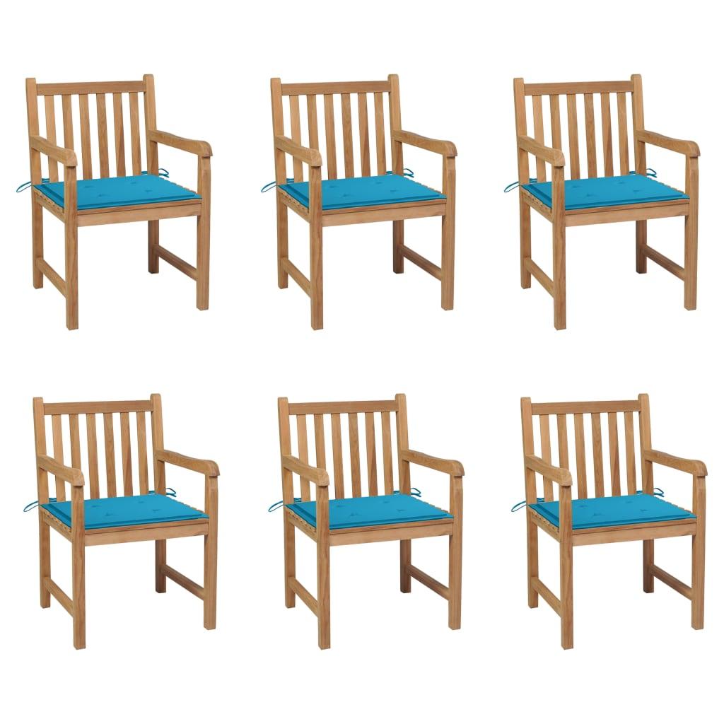 Gartenstühle 6 Stk. mit Blauen Kissen Massivholz Teak
