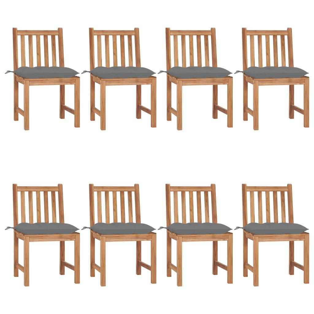 Gartenstühle 8 Stk. mit Kissen Massivholz Teak
