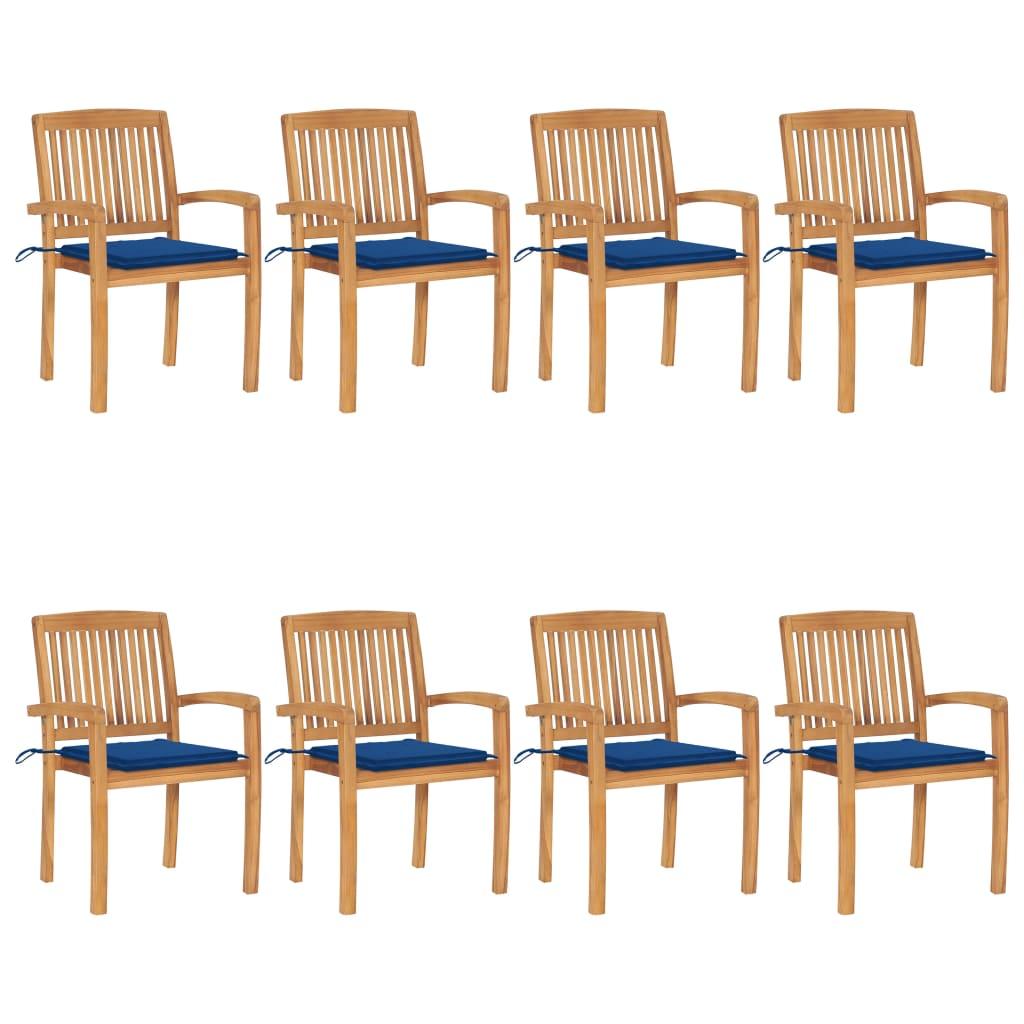 Stapelbare Gartenstühle mit Kissen 8 Stk. Massivholz Teak