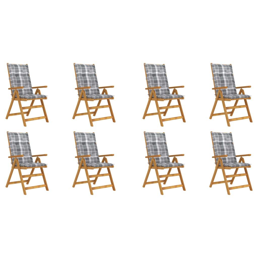 Klappbare Gartenstühle mit Kissen 8 Stk. Massivholz Akazie