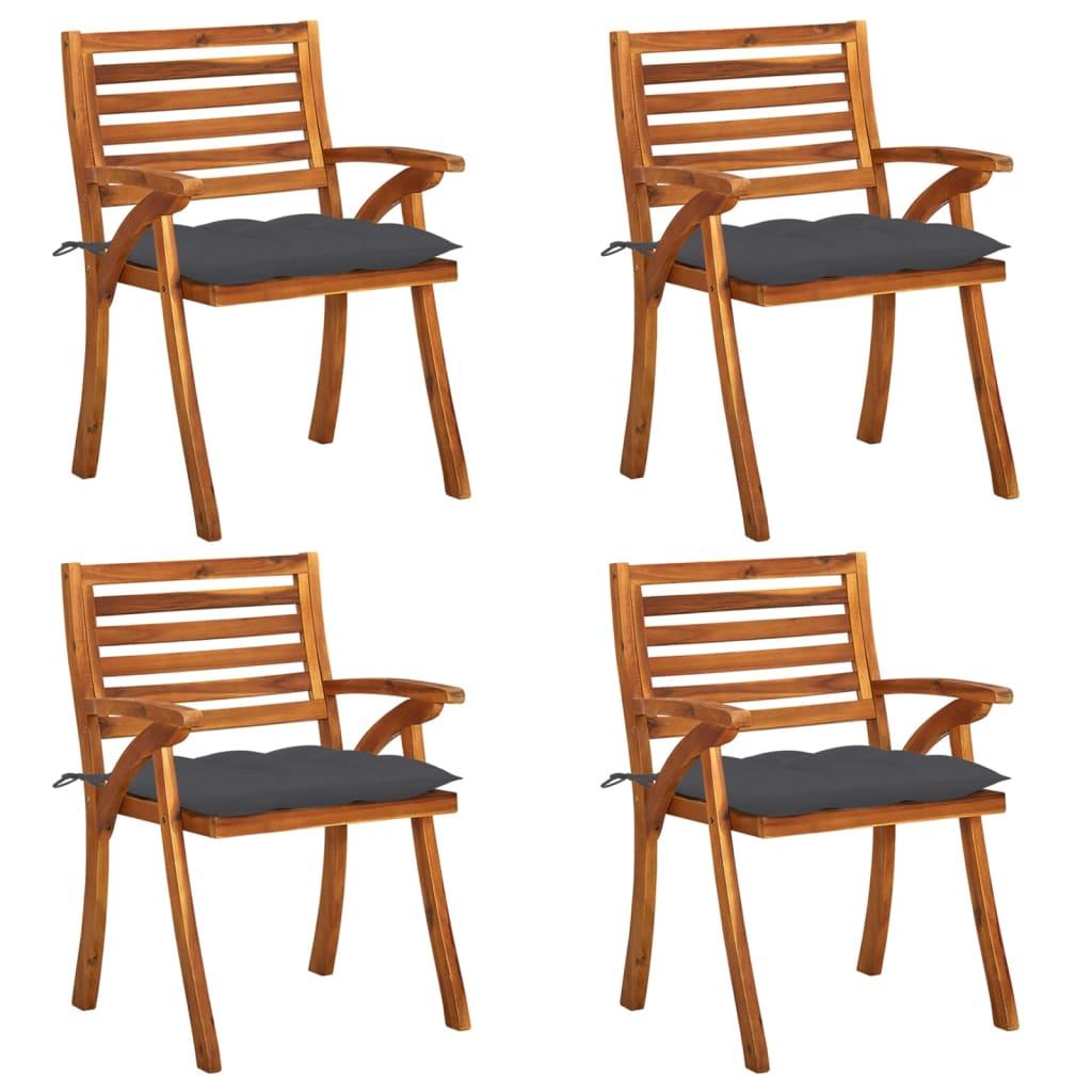 Gartenstühle mit Kissen 4 Stk. Massivholz Akazie