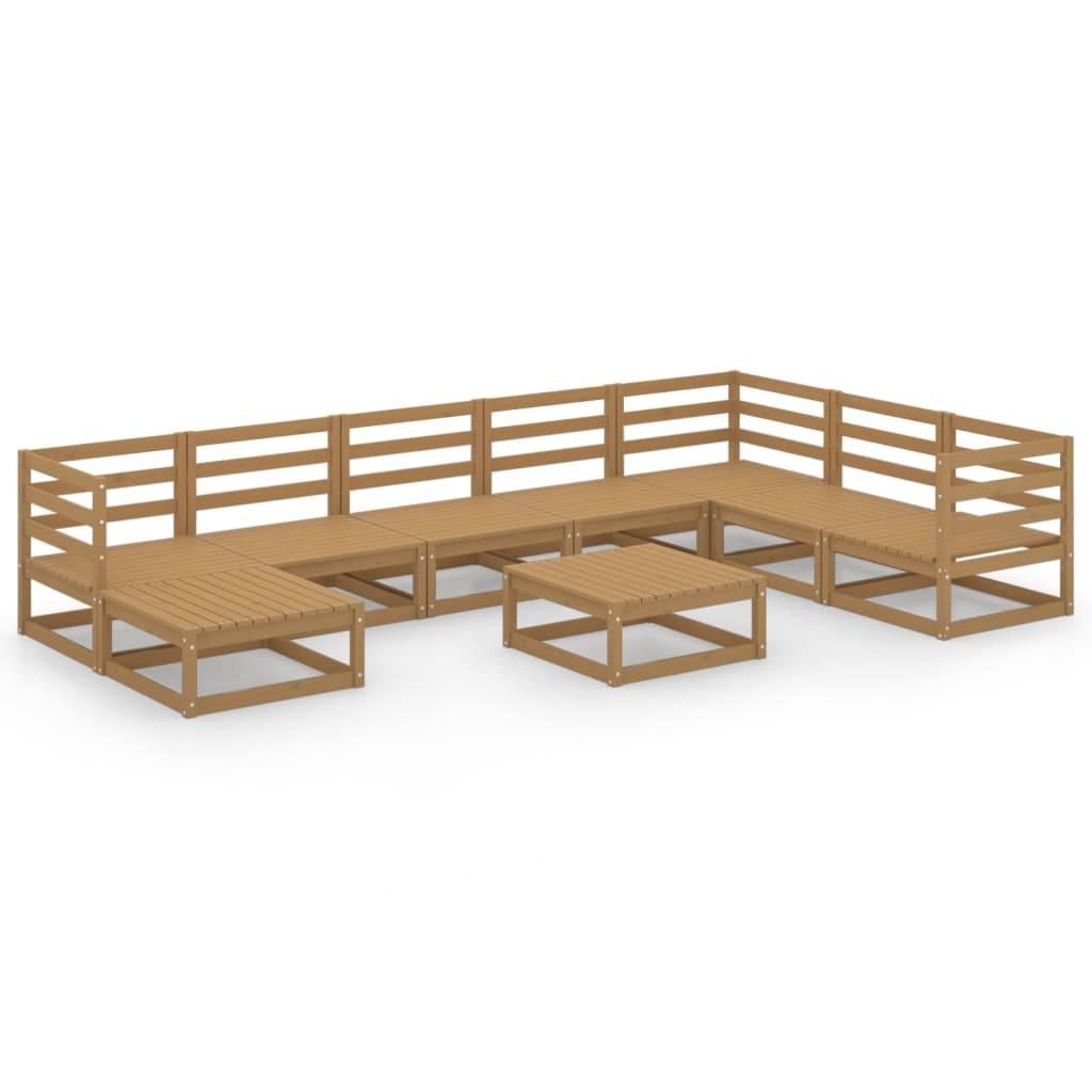9-tlg. Garten-Lounge-Set Honigbraun Massivholz Kiefer