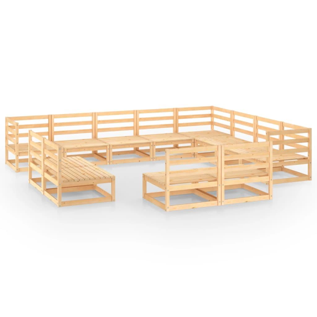 12-tlg. Garten-Lounge-Set Massivholz Kiefer