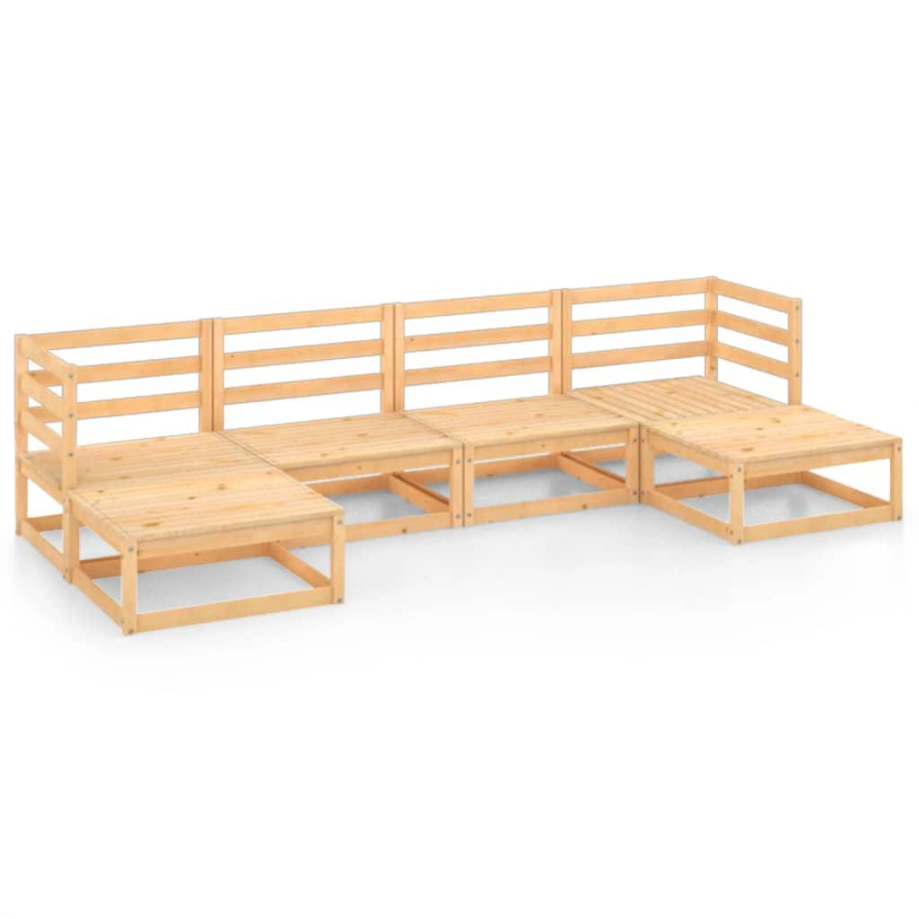 6-tlg. Garten-Lounge-Set Massivholz Kiefer