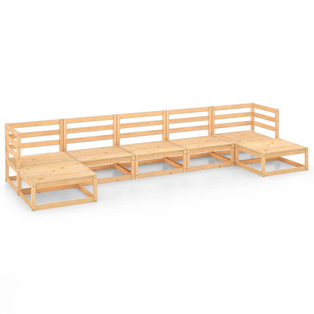 7-tlg. Garten-Lounge-Set Massivholz Kiefer