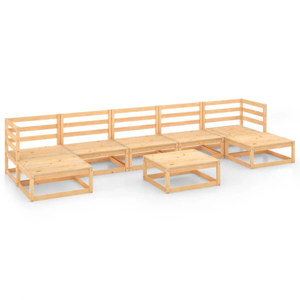 8-tlg. Garten-Lounge-Set Massivholz Kiefer