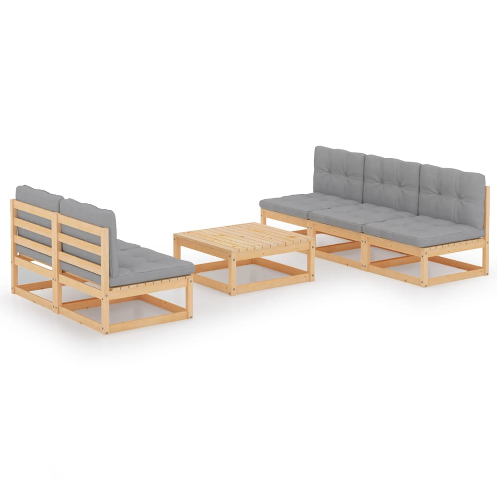 6-tlg. Garten-Lounge-Set mit Kissen Kiefer Massivholz
