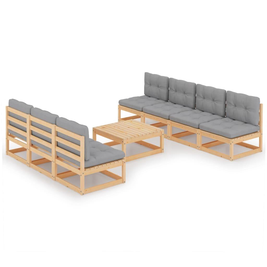 8-tlg. Garten-Lounge-Set mit Kissen Kiefer Massivholz