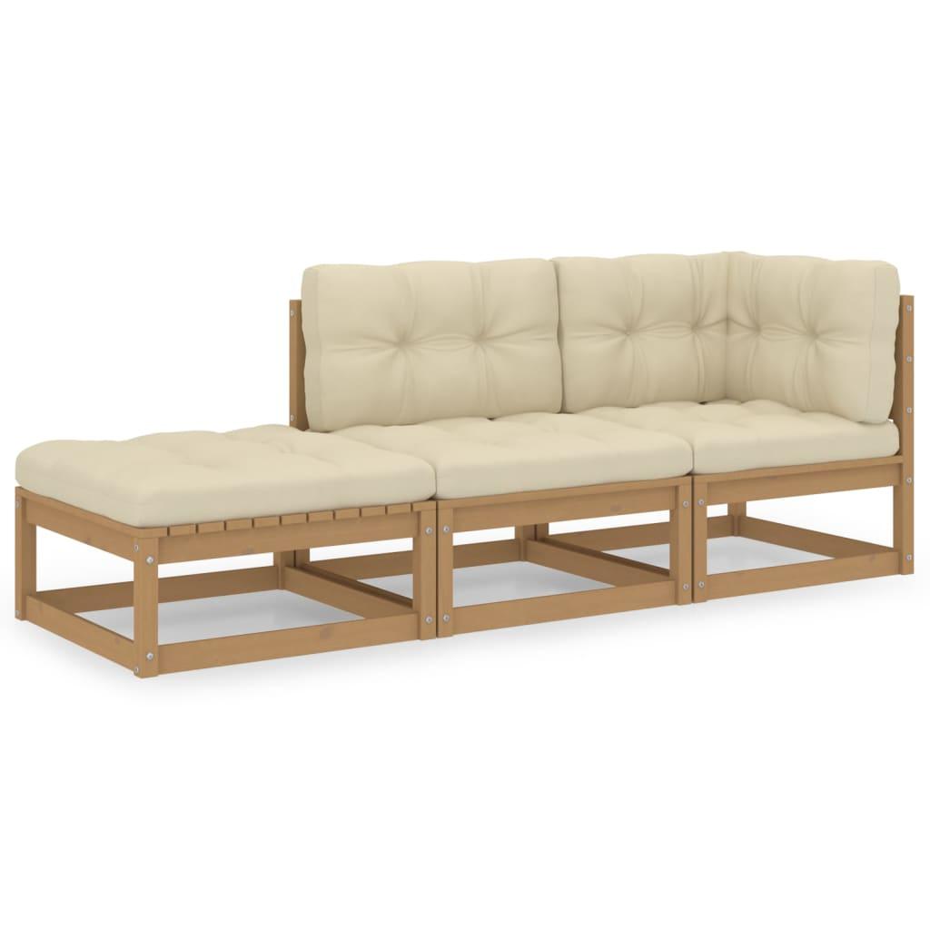 3-tlg. Garten-Lounge-Set mit Kissen Kiefer Massivholz
