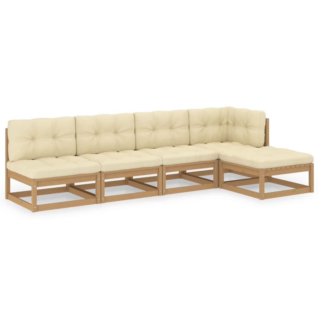 5-tlg. Garten-Lounge-Set mit Kissen Kiefer Massivholz