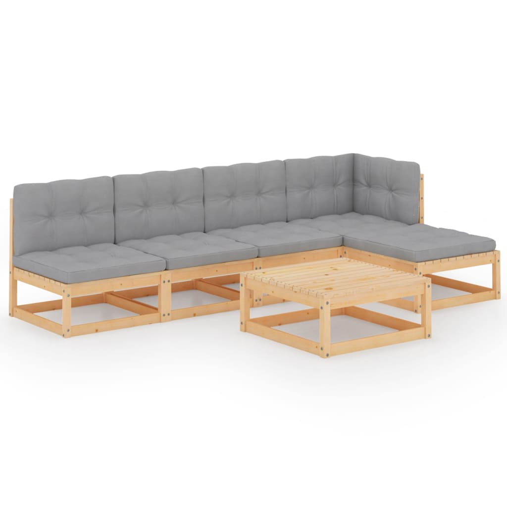 6-tlg. Garten-Lounge-Set mit Kissen Massivholz Kiefer