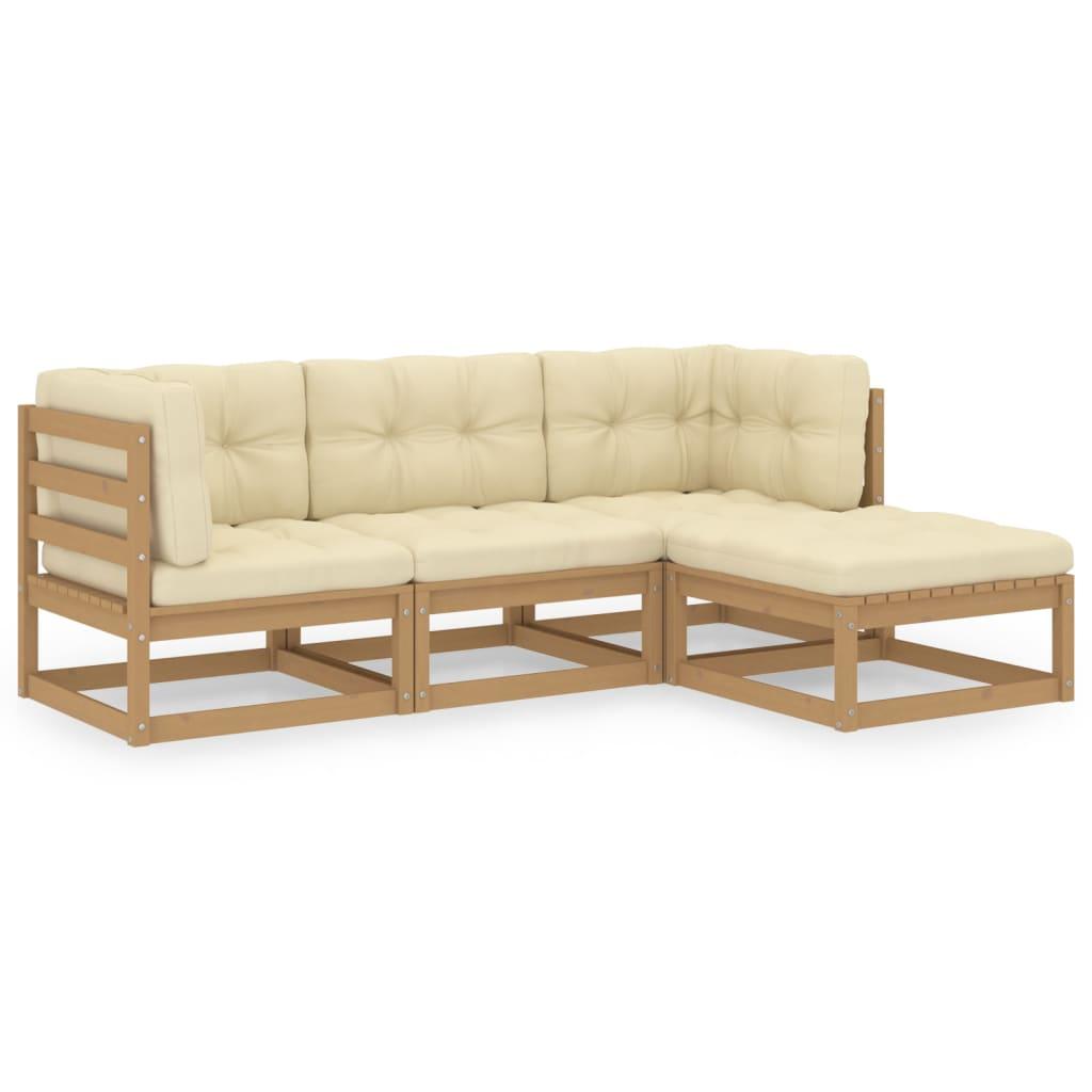 4-tlg. Garten-Lounge-Set mit Kissen Kiefer Massivholz