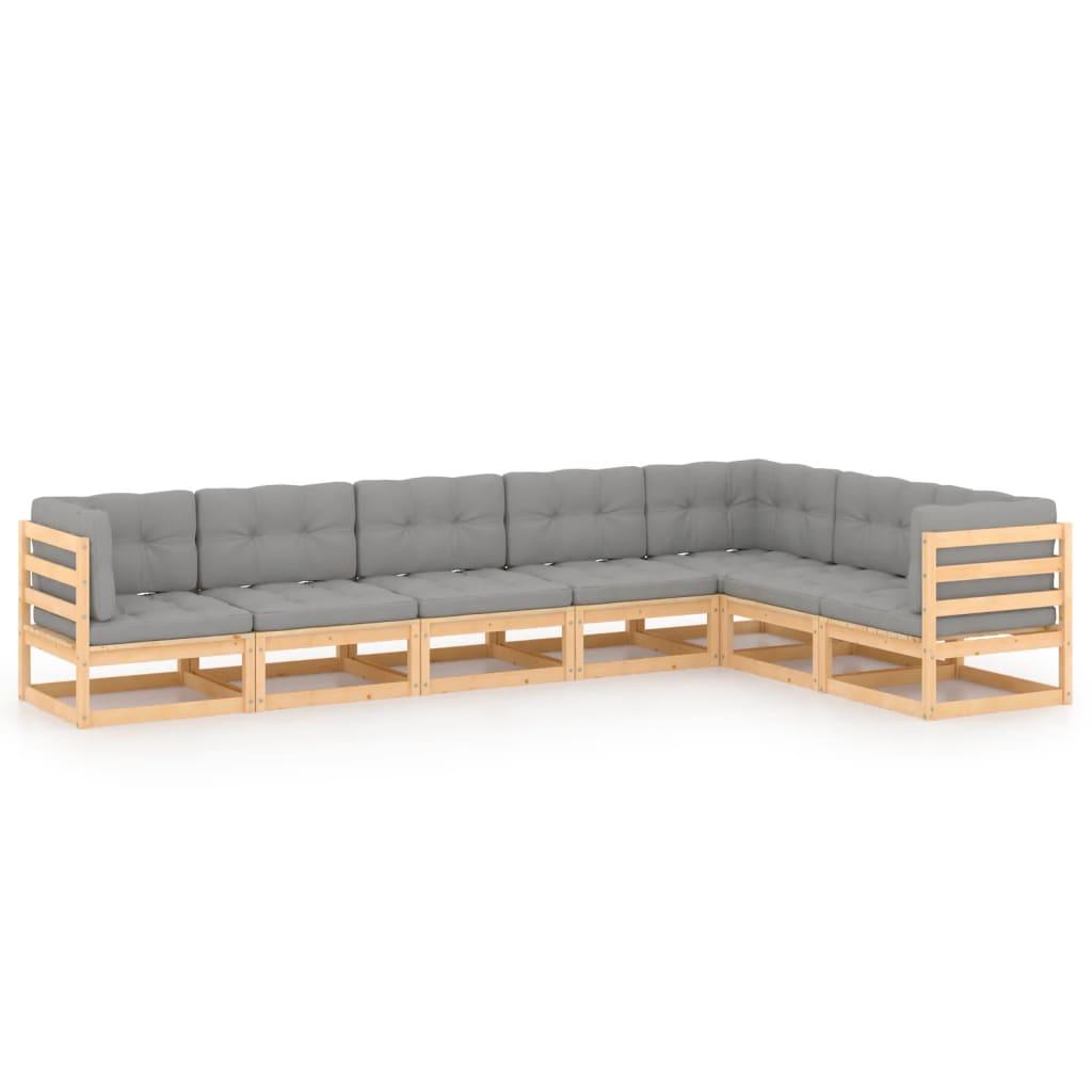 7-tlg. Garten-Lounge-Set mit Kissen Kiefer Massivholz