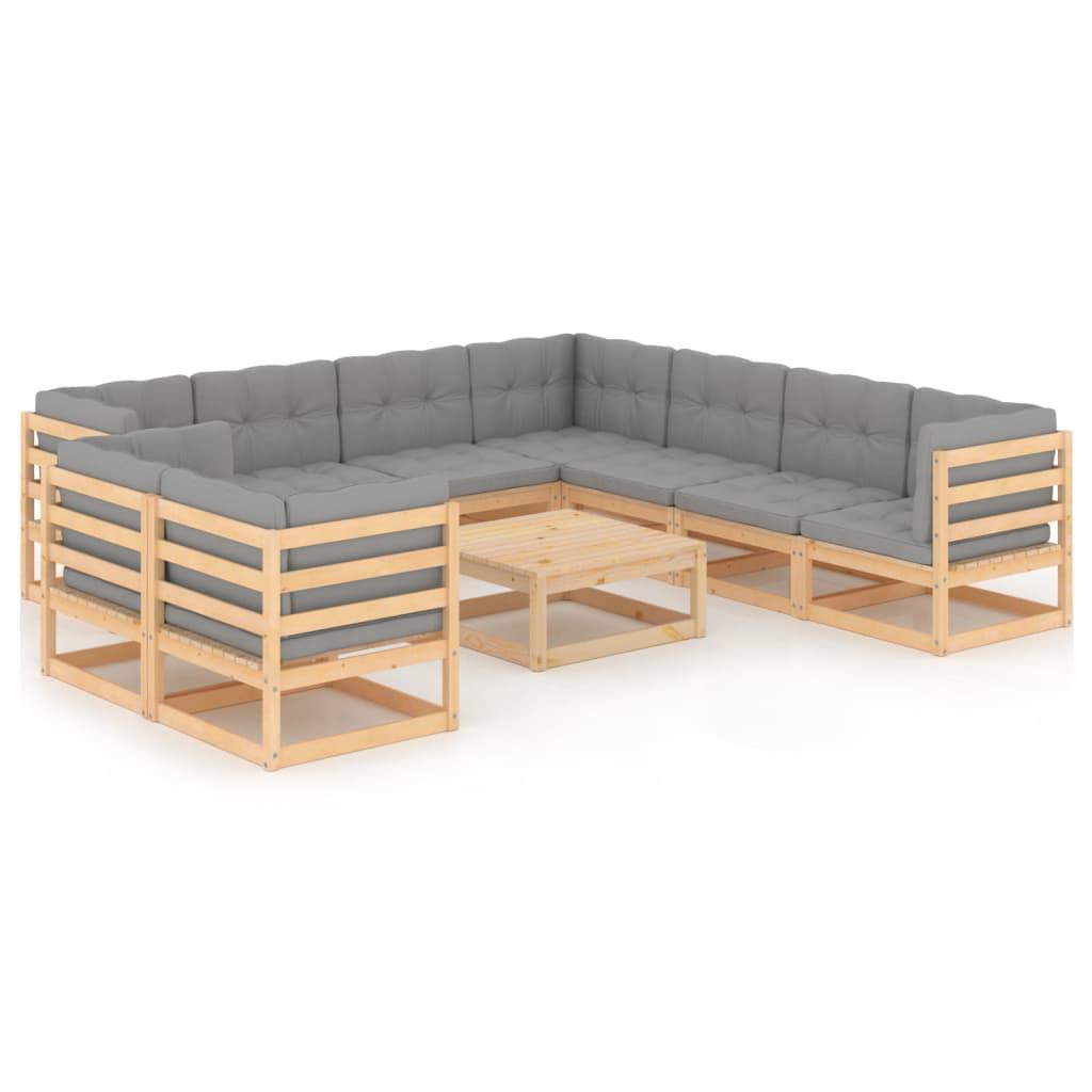 10-tlg. Garten-Lounge-Set mit Kissen Massivholz Kiefer