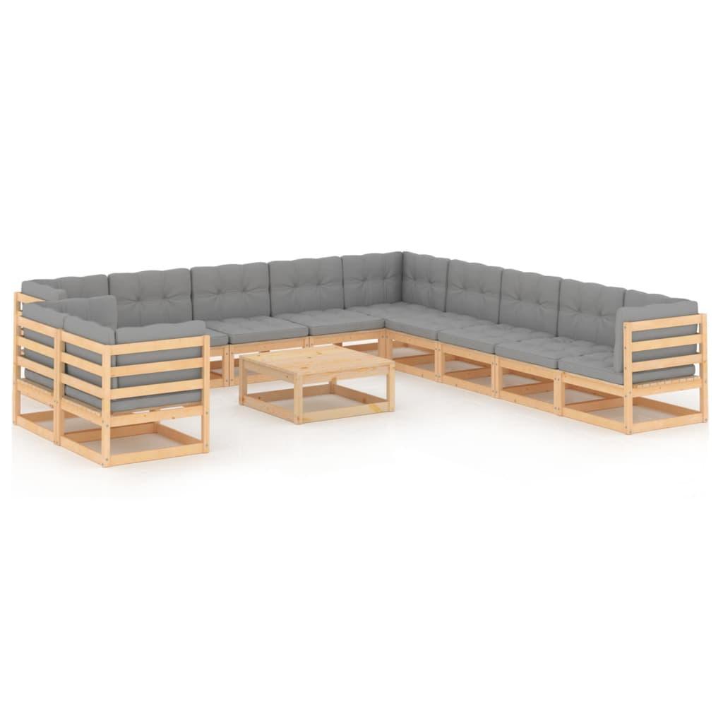 12-tlg. Garten-Lounge-Set mit Kissen Massivholz Kiefer