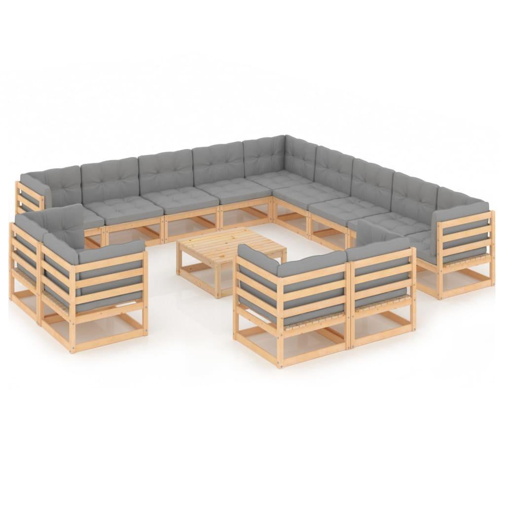 14-tlg. Garten-Lounge-Set mit Kissen Massivholz Kiefer