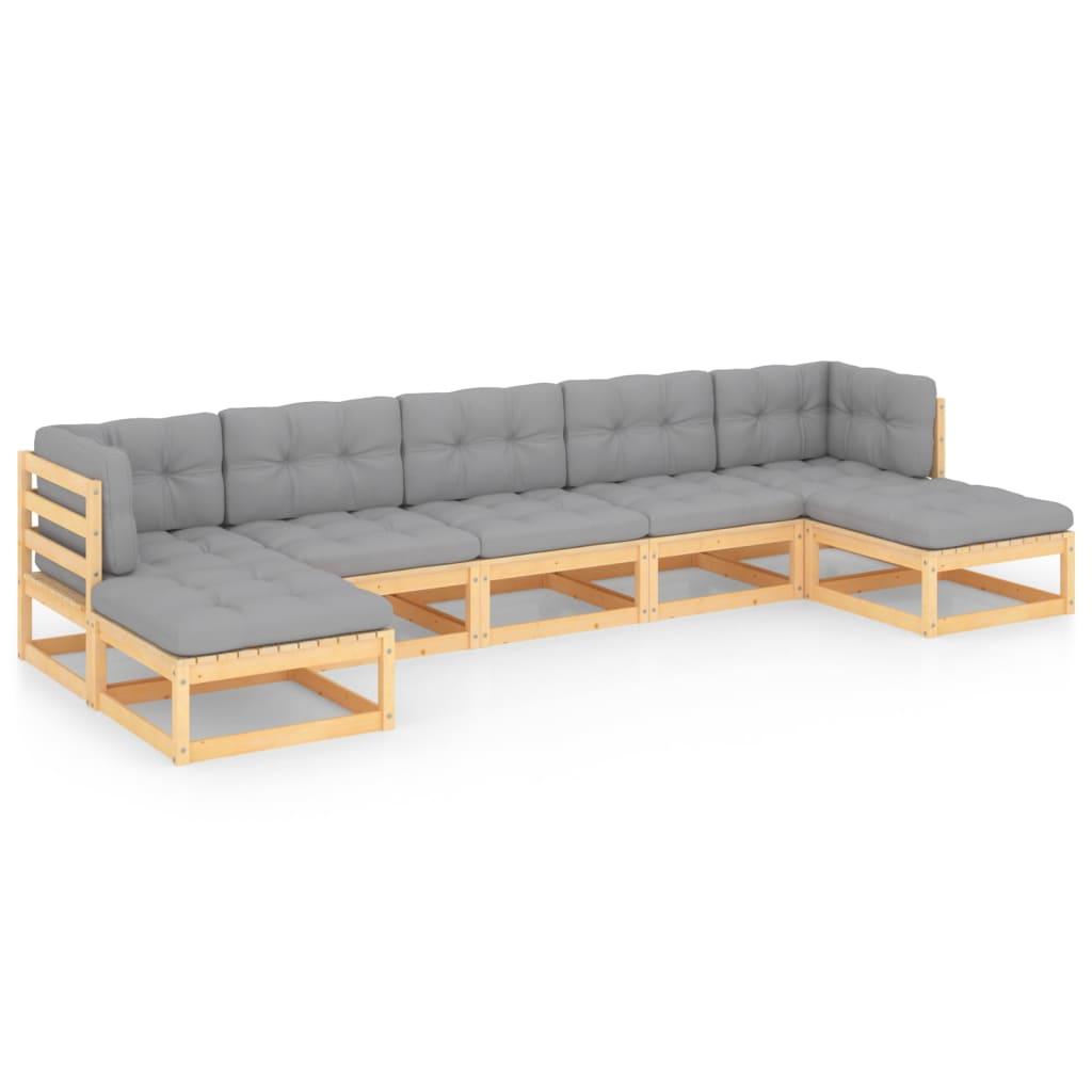7-tlg. Garten-Lounge-Set mit Kissen Massivholz Kiefer