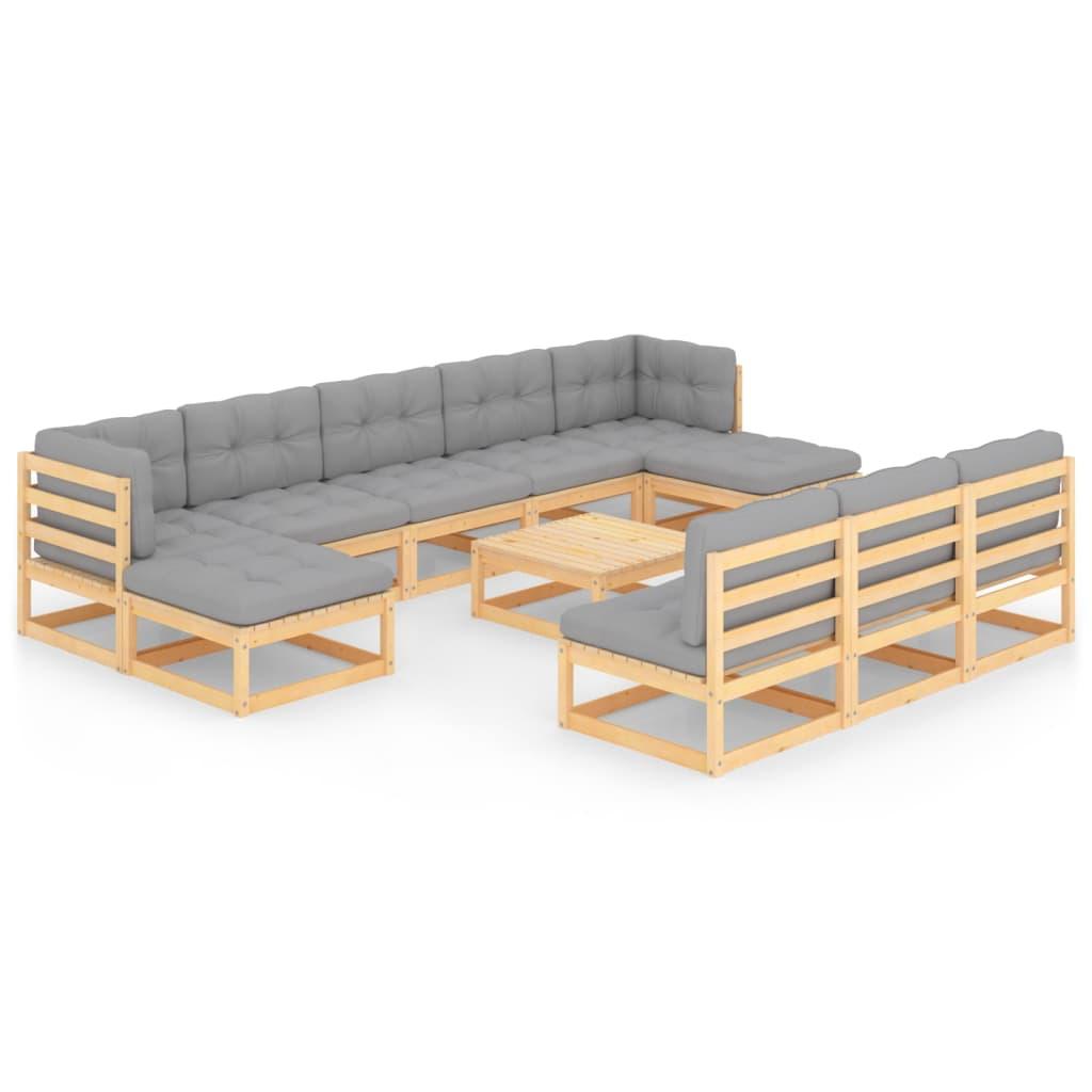 11-tlg. Garten-Lounge-Set mit Kissen Kiefer Massivholz