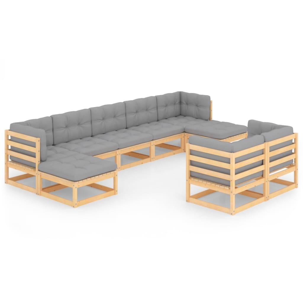 9-tlg. Garten-Lounge-Set mit Kissen Massivholz Kiefer