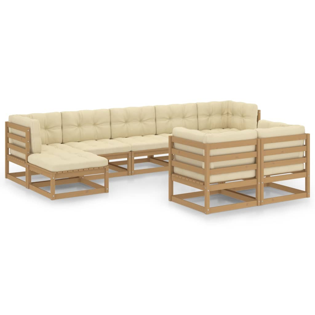9-tlg. Garten-Lounge-Set Kissen Honigbraun Kiefer Massivholz