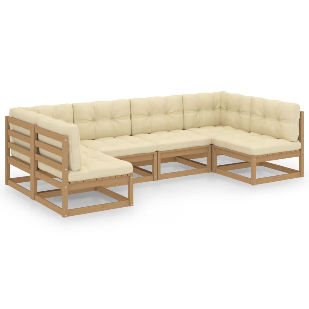 6-tlg. Garten-Lounge-Set Kissen Honigbraun Kiefer Massivholz
