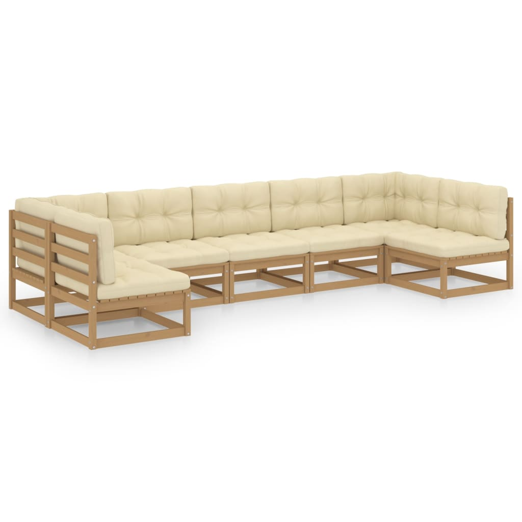 7-tlg. Garten-Lounge-Set Kissen Honigbraun Kiefer Massivholz