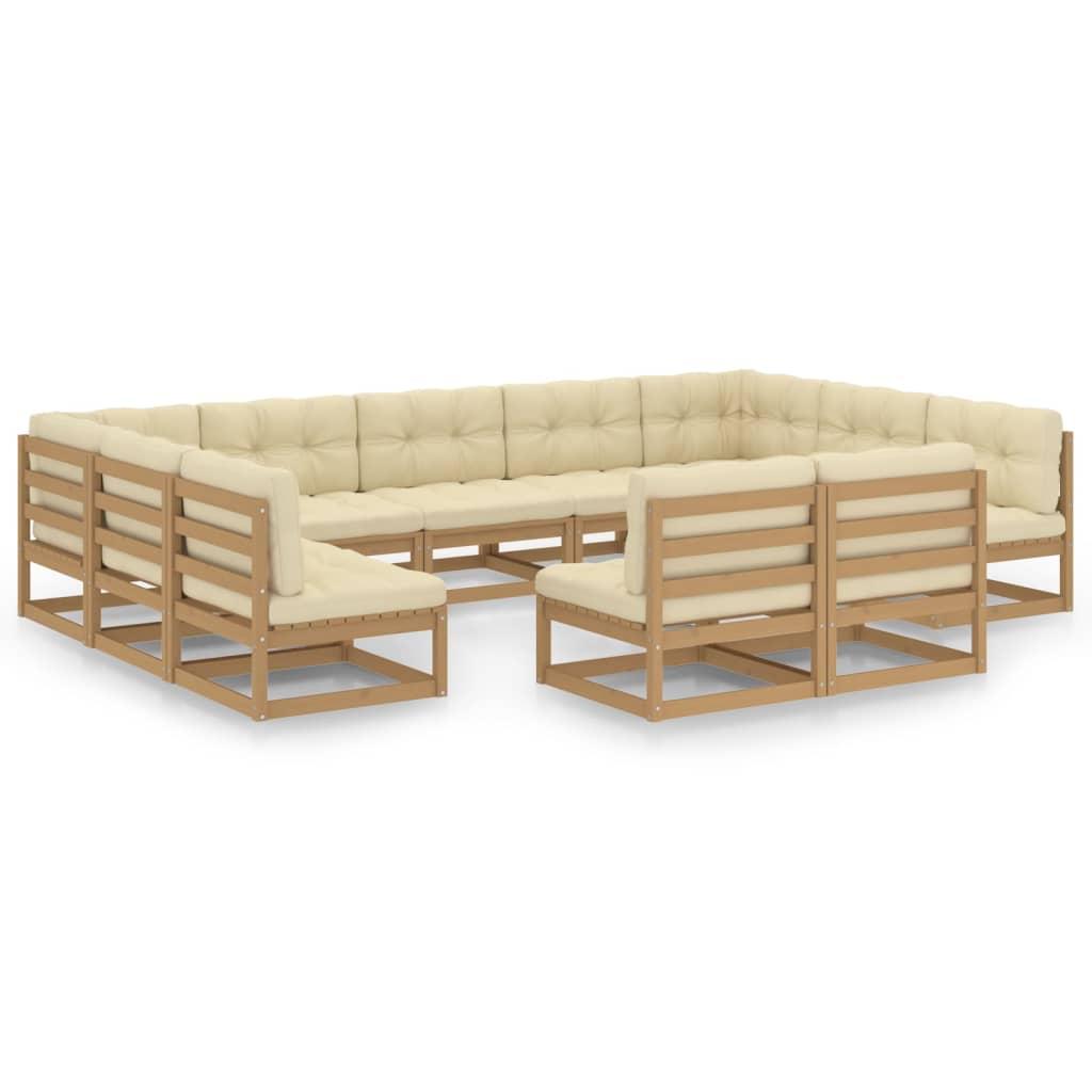 11-tlg. Garten-Lounge-Set Kissen Honigbraun Kiefer Massivholz