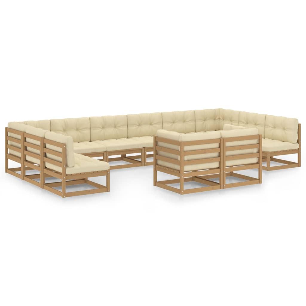 12-tlg. Garten-Lounge-Set Kissen Honigbraun Kiefer Massivholz