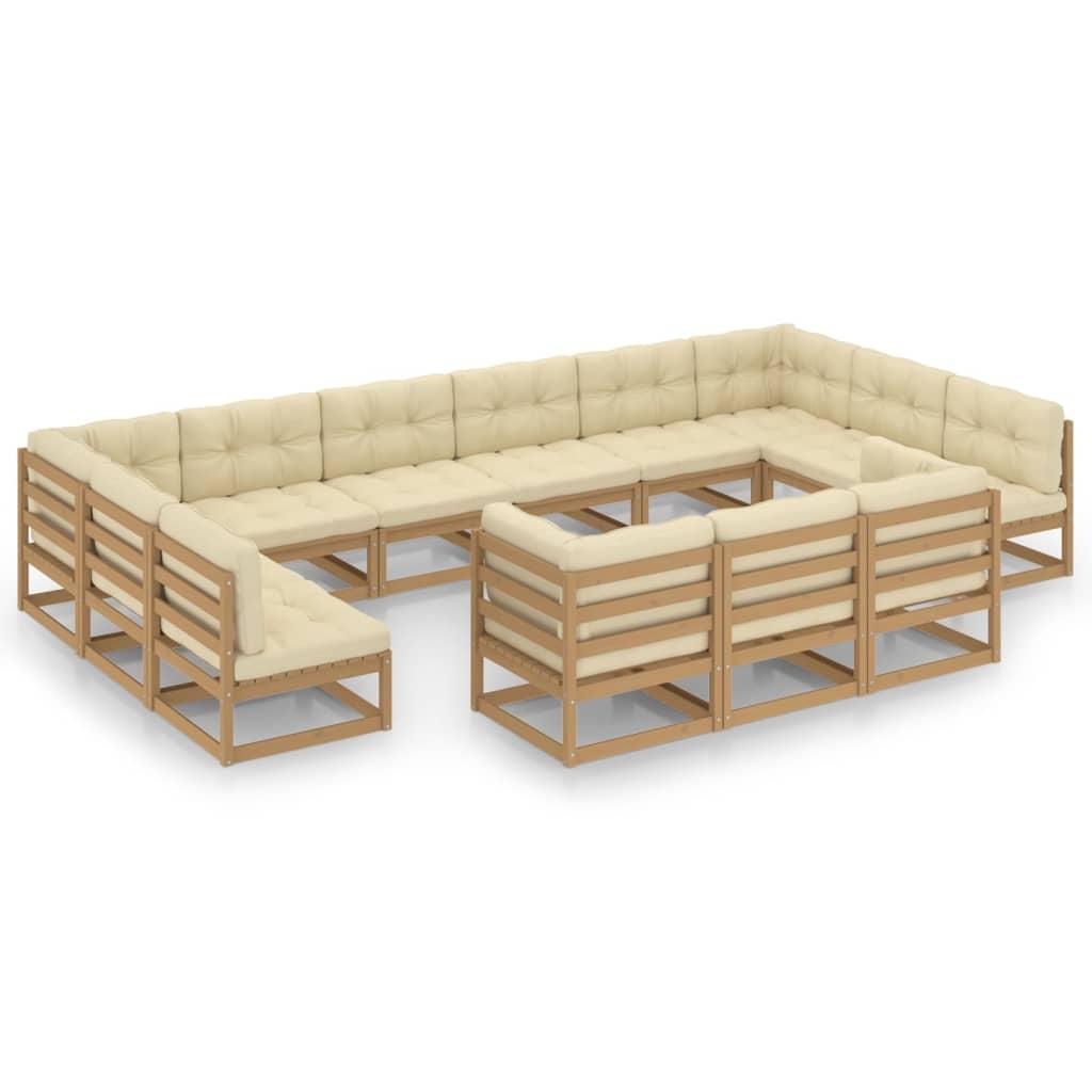 13-tlg. Garten-Lounge-Set Kissen Honigbraun Kiefer Massivholz