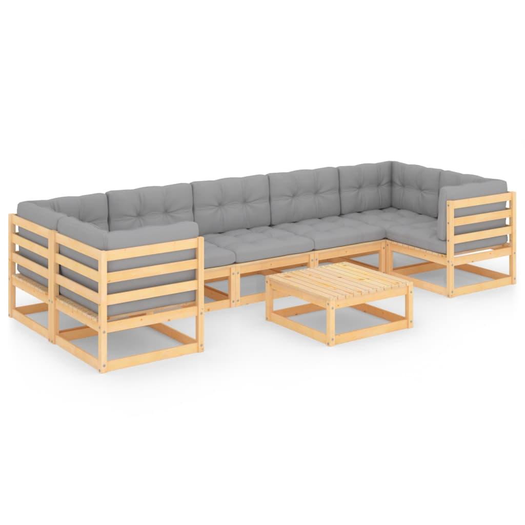 8-tlg. Garten-Lounge-Set mit Kissen Massivholz Kiefer