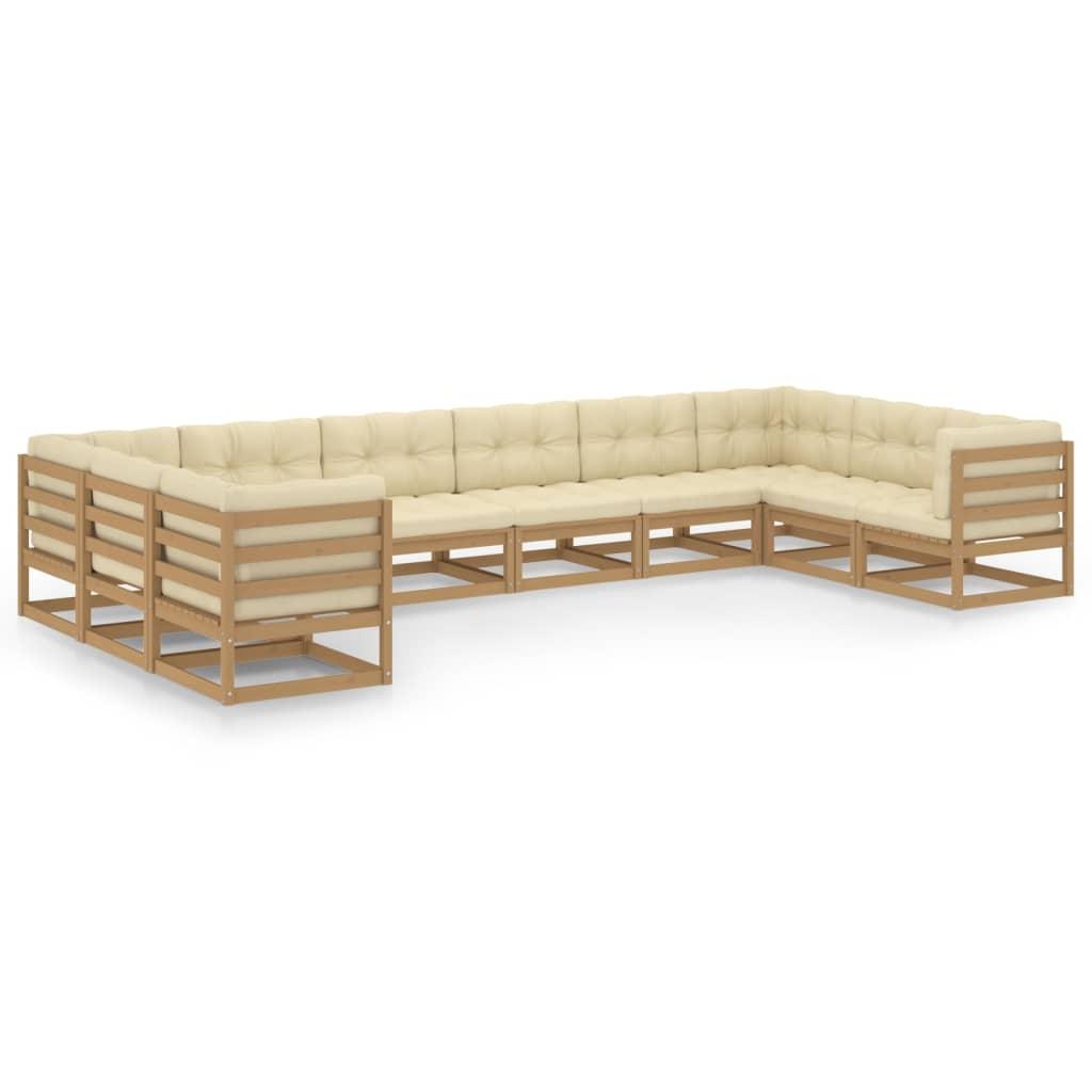 10-tlg. Garten-Lounge-Set Kissen Honigbraun Kiefer Massivholz