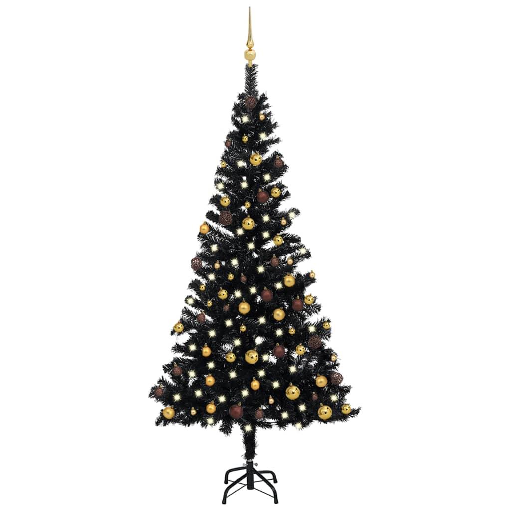 Künstlicher Weihnachtsbaum mit LEDs & Schmuck Schwarz 150cm PVC
