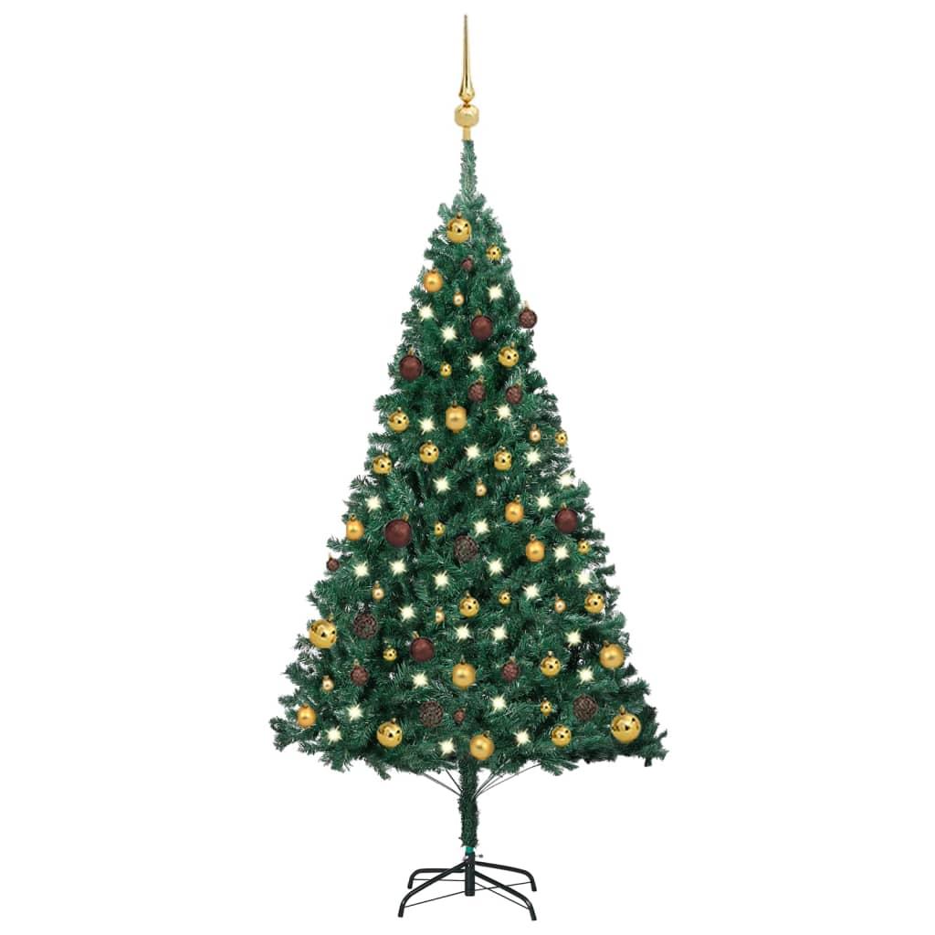 Künstlicher Weihnachtsbaum mit LEDs & Kugeln Grün 150 cm PVC
