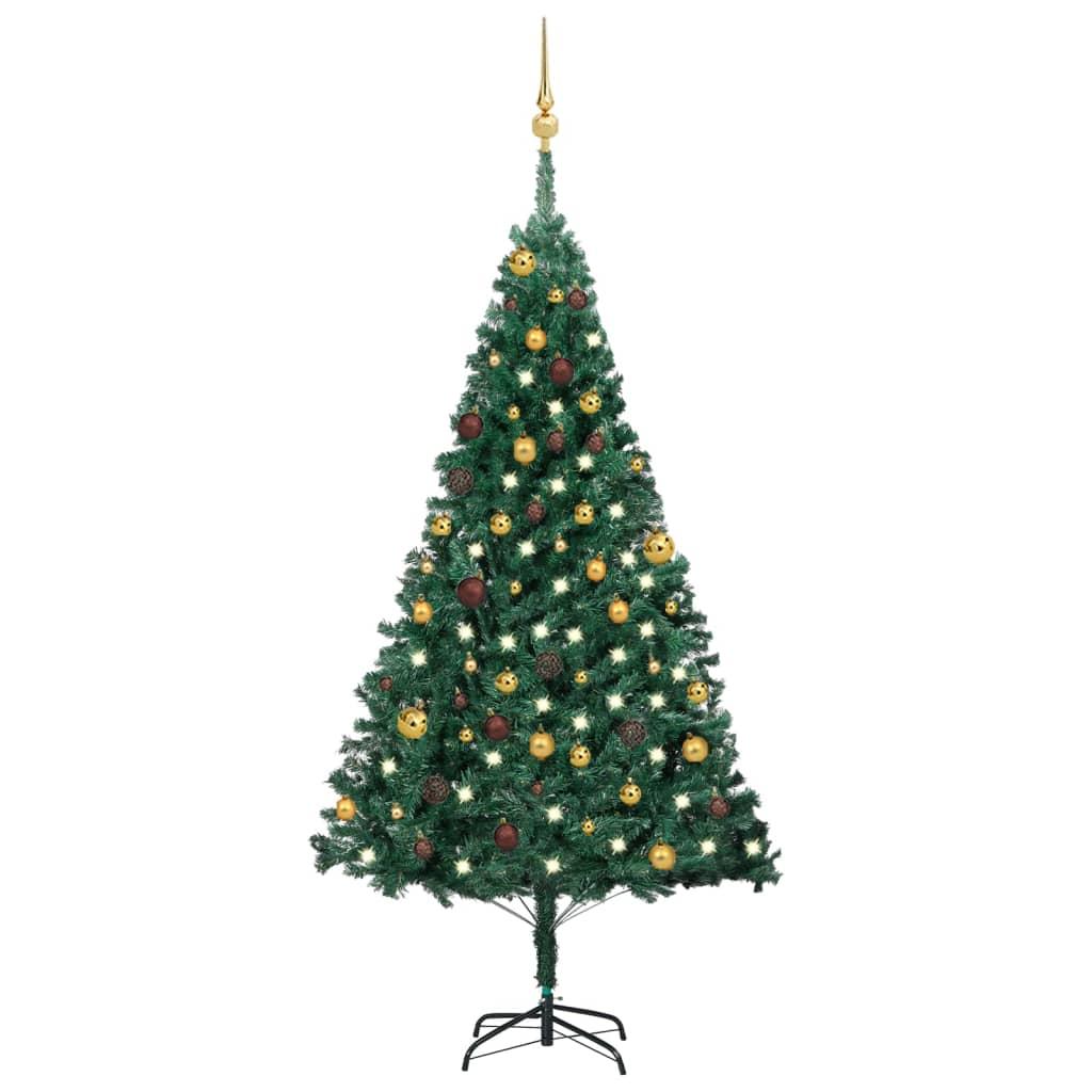 Künstlicher Weihnachtsbaum mit LEDs & Kugeln Grün 180 cm PVC