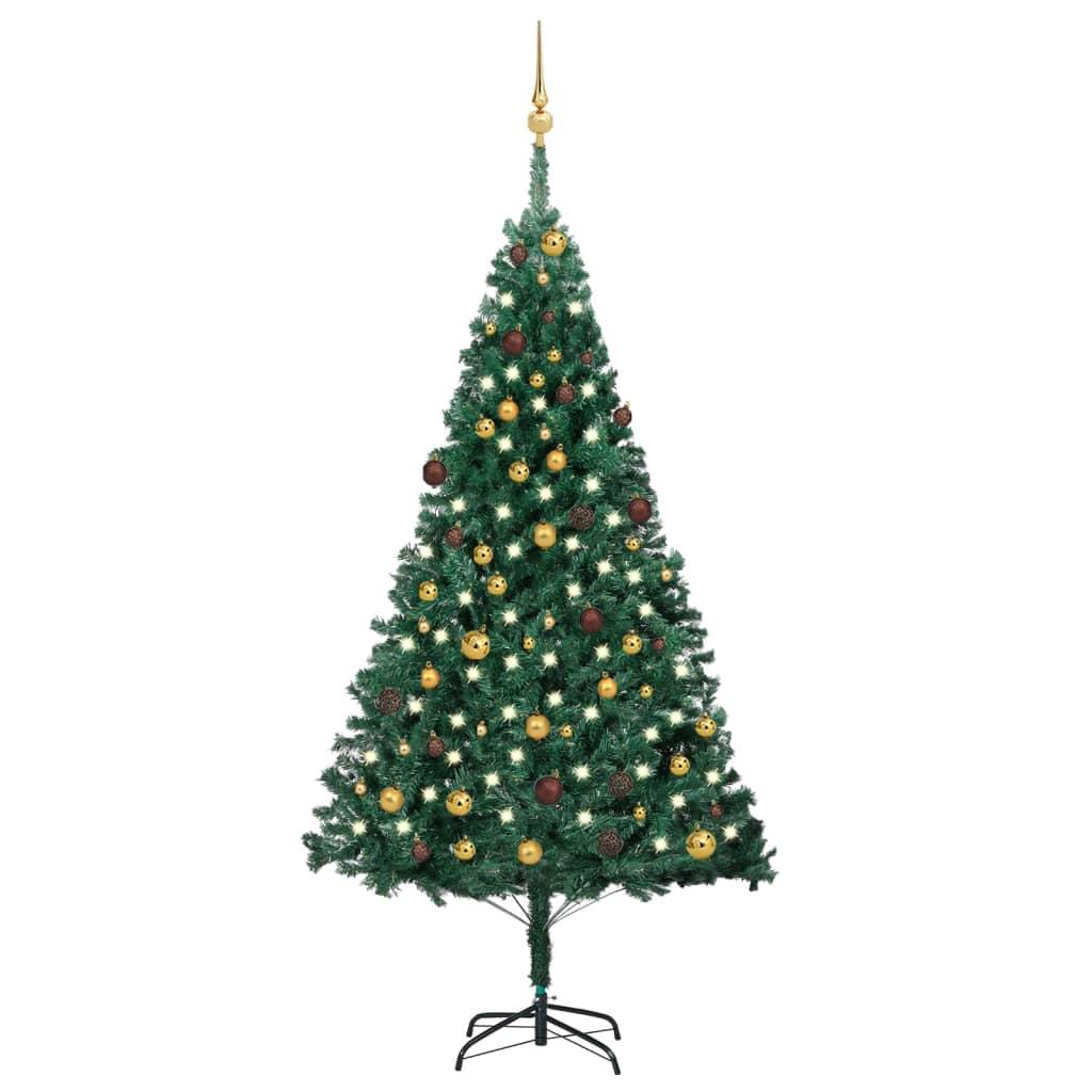 Künstlicher Weihnachtsbaum mit LEDs & Kugeln Grün 210 cm PVC