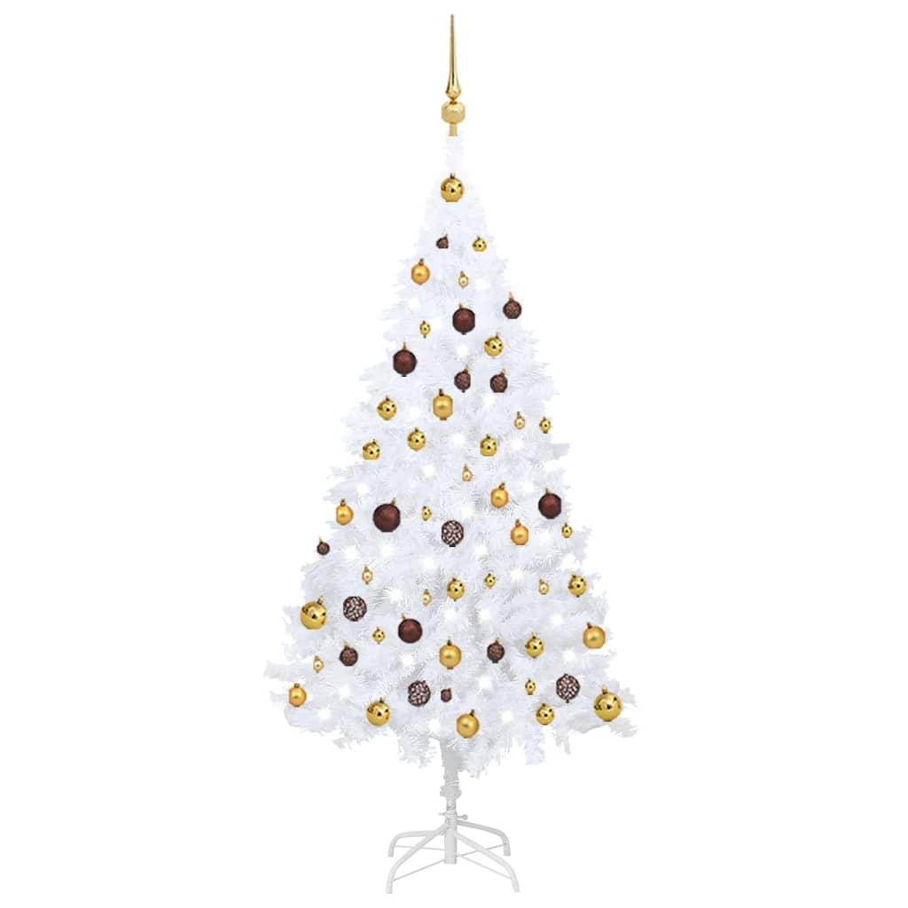 Künstlicher Weihnachtsbaum mit LEDs & Kugeln Weiß 150 cm PVC