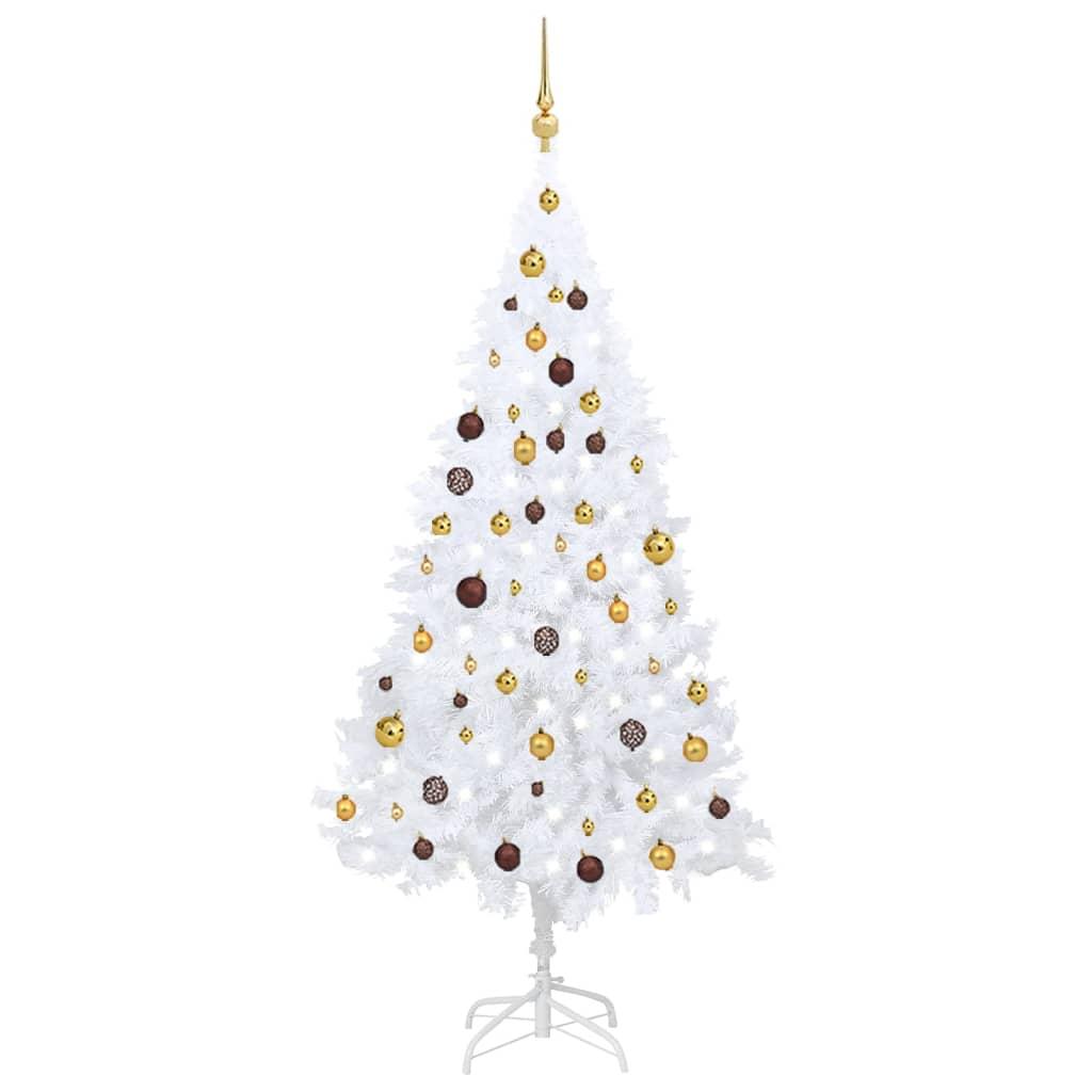 Künstlicher Weihnachtsbaum mit LEDs & Kugeln Weiß 180 cm PVC