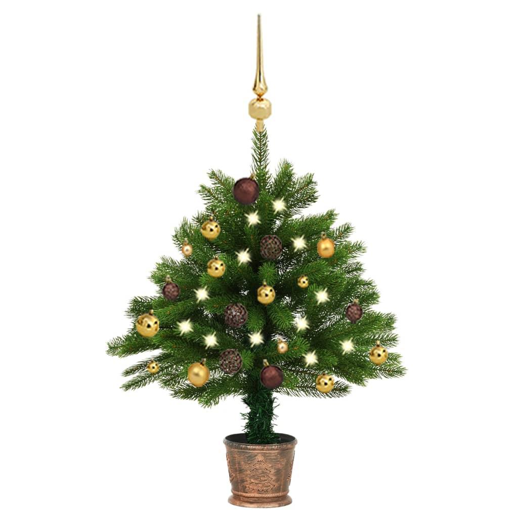 Künstlicher Weihnachtsbaum mit LEDs & Kugeln 65 cm Grün