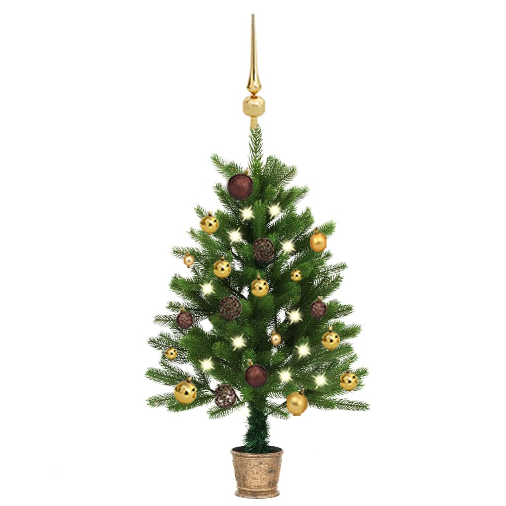 Künstlicher Weihnachtsbaum mit LEDs & Kugeln 90 cm Grün