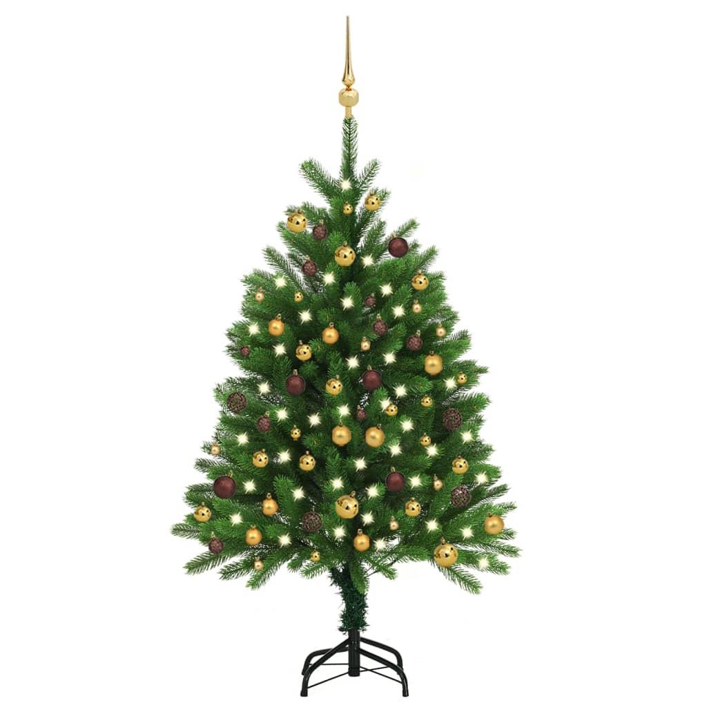 Künstlicher Weihnachtsbaum mit LEDs & Kugeln 120 cm Grün