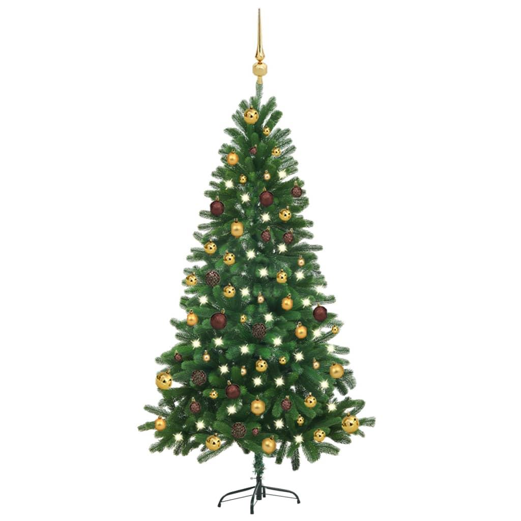 Künstlicher Weihnachtsbaum mit LEDs & Kugeln 150 cm Grün