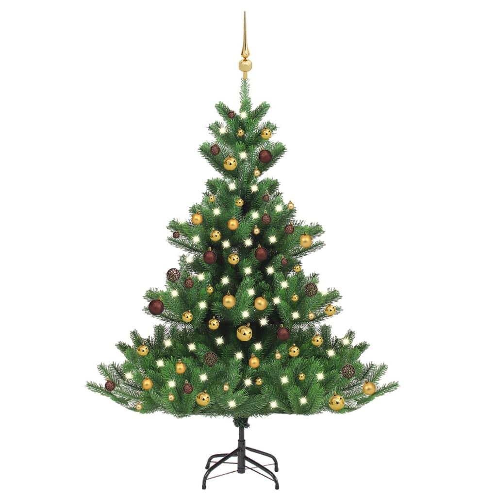 Künstlicher Weihnachtsbaum Nordmann LED & Kugeln Grün 150 cm
