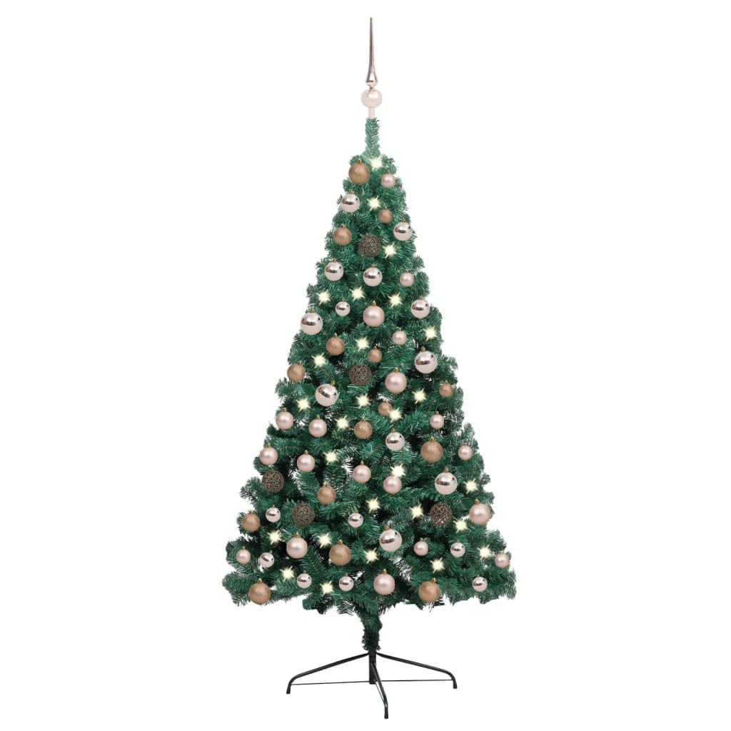 Künstlicher Halber Weihnachtsbaum mit LEDs & Kugeln Grün 120 cm
