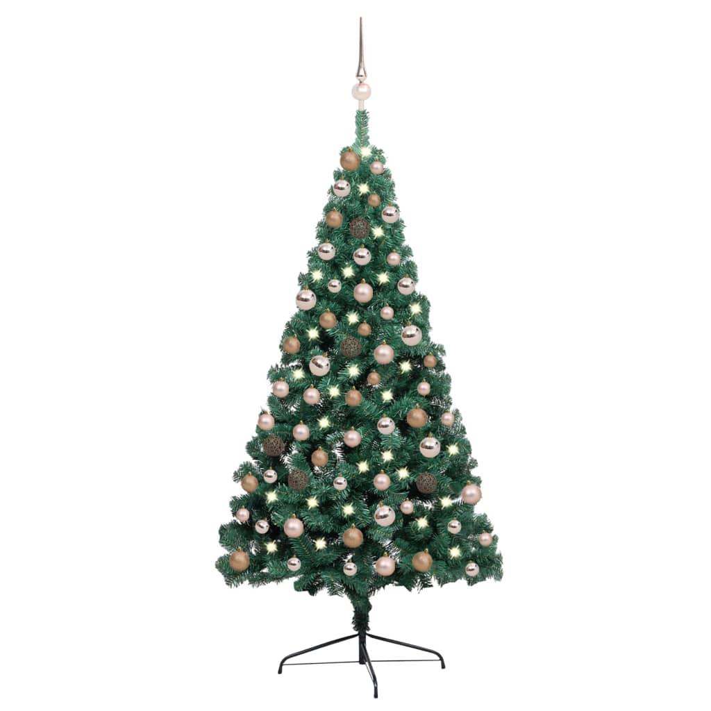 Künstlicher Halber Weihnachtsbaum mit LEDs & Kugeln Grün 150 cm