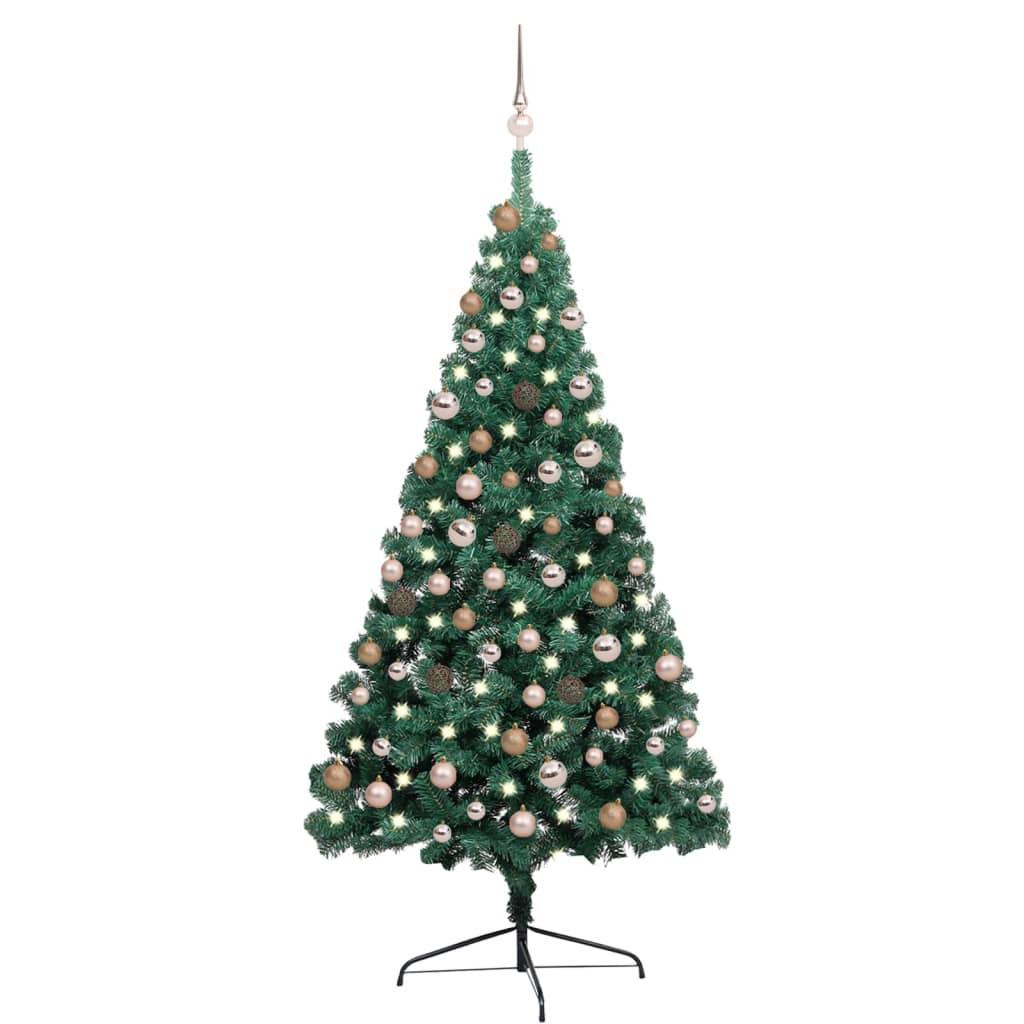 Künstlicher Halber Weihnachtsbaum mit LEDs & Kugeln Grün 180 cm