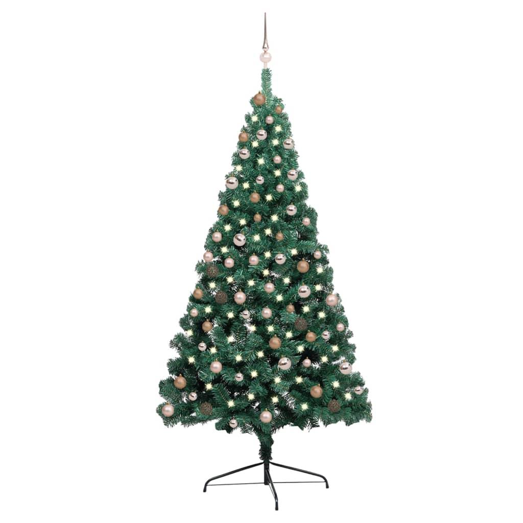 Künstlicher Halber Weihnachtsbaum mit LEDs & Kugeln Grün 210 cm