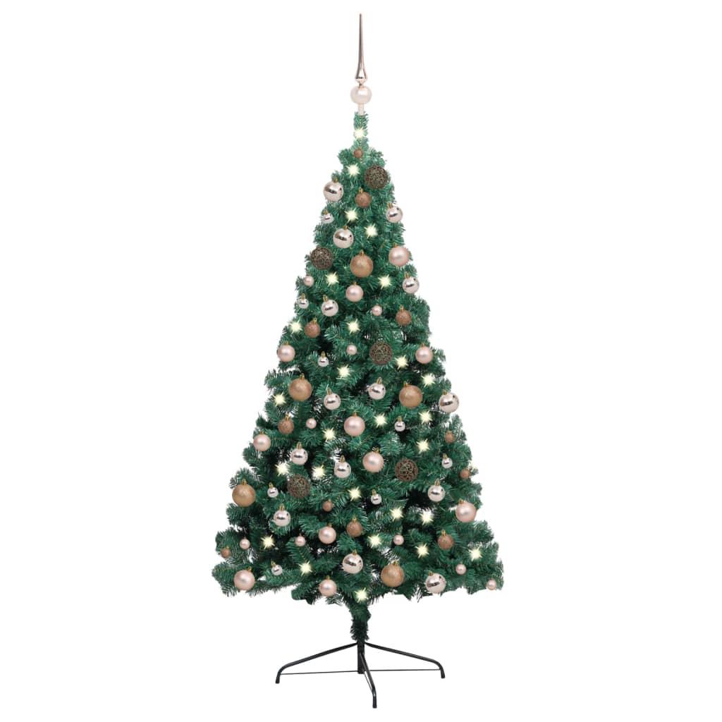 Künstlicher Halber Weihnachtsbaum mit LEDs & Kugeln Grün 240 cm