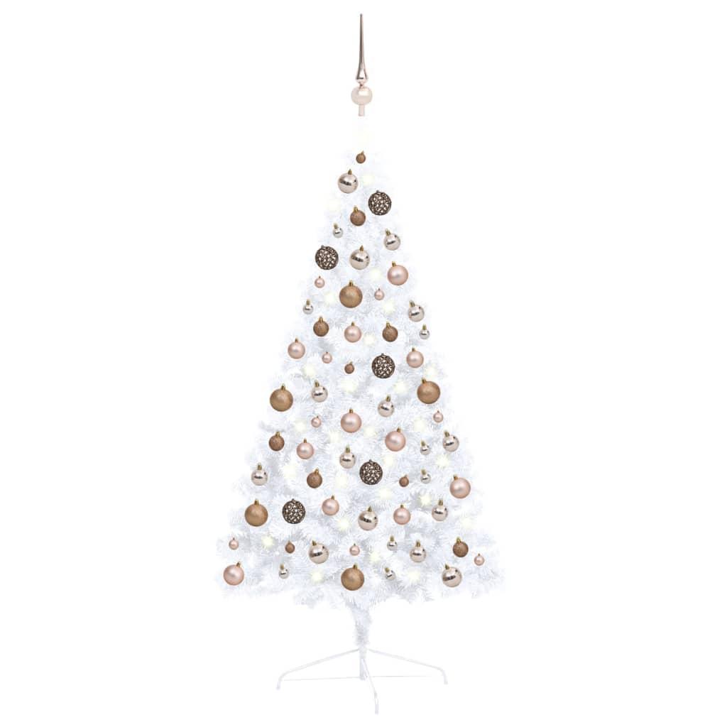 Künstlicher Halber Weihnachtsbaum mit LEDs & Kugeln Weiß 120 cm